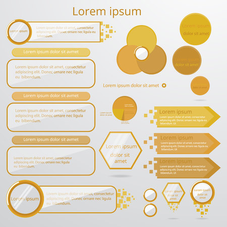 Set of infographic elements. Circle, pie chart, world arrow timeline, text bubble, diagram, graph vector templates. For web and print.