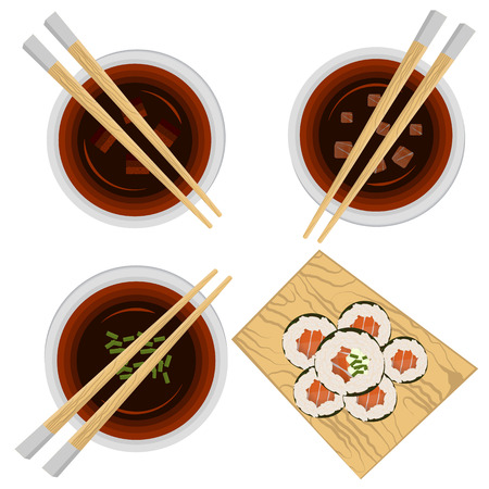 Set of portion variations of miso soup and sushi stand full with rolls.