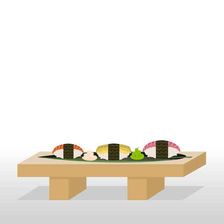 Sushi stand with nigiri, salmon, tuna and tamago. Include also spicy mayonnaise and wasabi. Ilustração