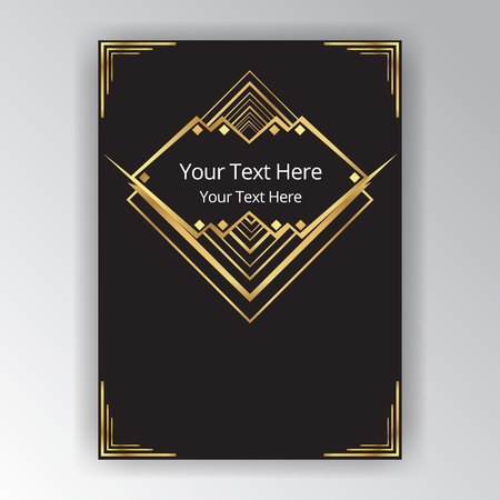 Art deco and Art nouveau style, vertical template, with golden rhomb sample for text, in futuristic motive. elegant design for print and web. Иллюстрация