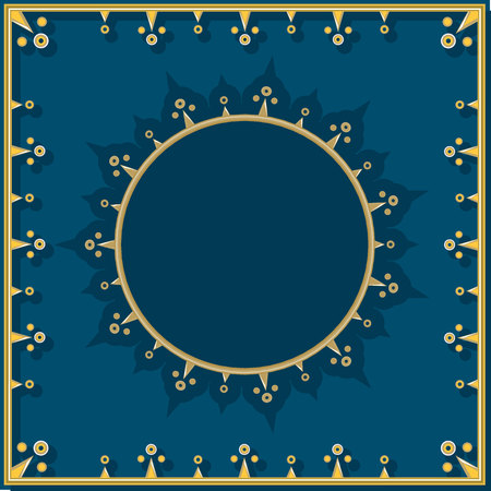 Golden pattern on blue royal background with round template for text in simplified neoclassical style.
