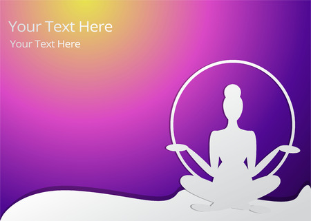 Girl silhouette meditate, yoga pose.  spa, featured background. Neon colors and paper crafted woman, for web and print vector illustration, with wave and round