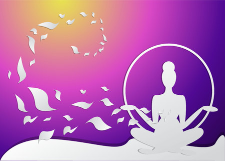 Girl silhouette meditate, yoga pose. spa, featured background. Neon colors and paper crafted woman, for web and print vector illustration, with wave and sakura's petal
