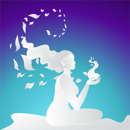 Woman silhouette meditate in side view, yoga pose. spa, featured background. Neon colors and paper crafted woman, for web and print vector illustration, in desert with sakura's petal .