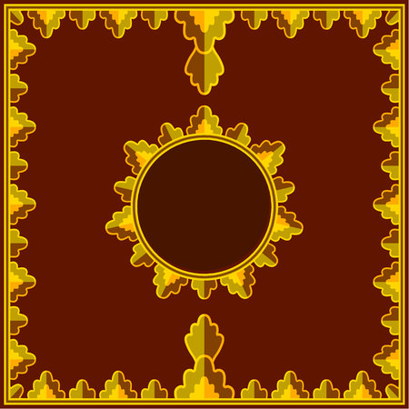 Golden pattern on red royal background with round template for text in simplified thai style.