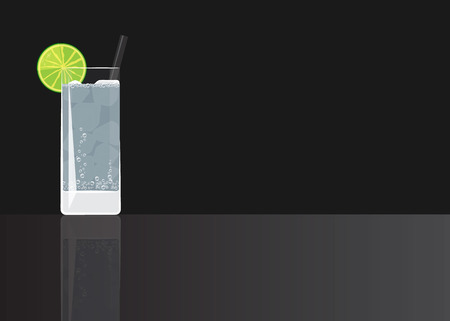 Gin tonic on black mirrored background. Vector illustration for web and print,  party invitation or menu decoration