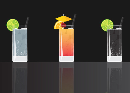 Gin tonic cocktail, Tequila Sunrise and Soda lime drink on black mirrored background. Vector illustration for web and print, party invitation or menu decoration