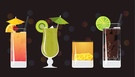 Tequila Sunrise, Kiwi Mojito, Tiger juice and Cuba libre cocktails on black mirrored background with bokeh. Vector illustration for web and print,  party invitation or menu decoration