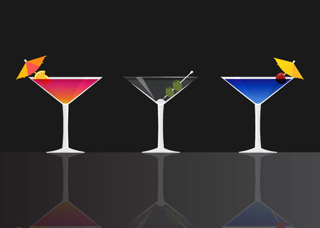 Manhattan cocktail, Dry martini on black mirrored background. Vector illustration for web and print,  party invitation or menu decoration
