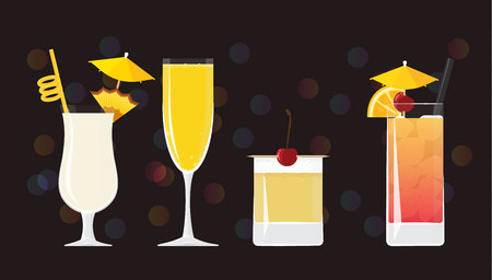 Pina Colada cocktail, Mimosa , Whisky Sour and Tequila Sunrise on black mirrored background with bokeh. Vector illustration for web and print,  party invitation or menu decoration