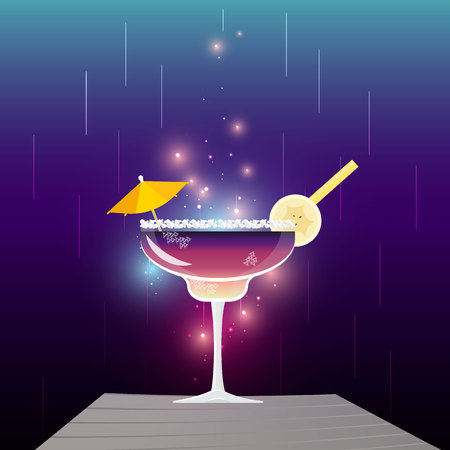 Pine Pepper Crush or  El Diablo cocktail on tinsel blue purple background. With banana and umbrella party vector illustration, menu decoration for web and print