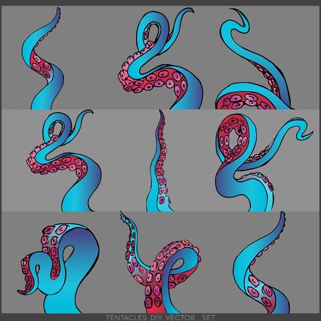 Ensemble futuriste avec neuf tentacules colorés d'un cadre de pieuvre, illustration de dessin animé plat mignon motif océan pour le web et l'impression, décoration mignonne. Vecteurs