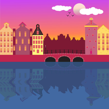 Cool vector background  Amsterdam street facades cartoon vector   illustration , colorful urban canal , beautiful landscape, architecture amazing  style . Dutch golden age style in architecture. 矢量图像