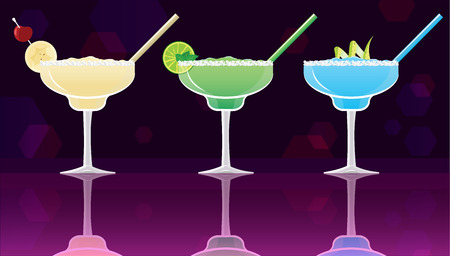 Margarita banana, green and blue on black and purple mirrored bokeh background. Vector illustration for web and print,  party invitation