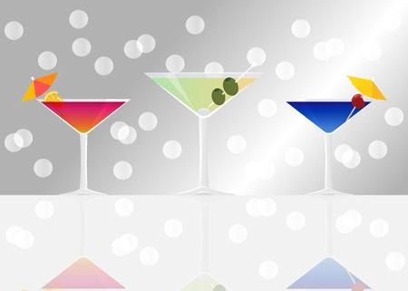 Manhattan cocktail, Dry martini  on silver mirrored background with bokeh. Vector illustration for web and print,  party invitation or menu decoration Illustration