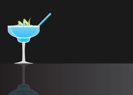 Margarita blue curacao cocktail on black mirrored background. Vector illustration for web and print,  party invita 矢量图像