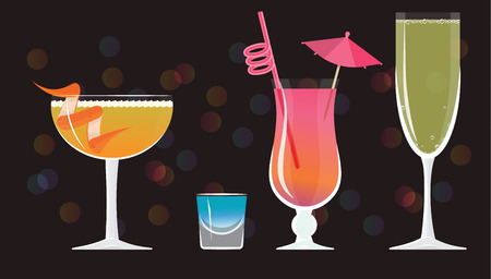 Sidecar cocktail, Blue Kamikaze ,French 75, Mai Tai ,Bellini cocktails  on black mirrored background with bokeh. Vector illustration for web and print,  party invitation or menu decoration Illustration