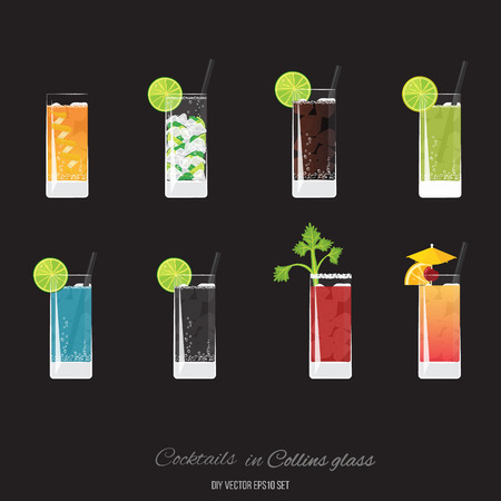 Sidecar cocktail, Mojito, Cuba libre, Green lemonader, Royal Blue, Soda, Bloody Marry,  Tequila Sunrise cocktails set for web and print decoratio, for menu and invitations elegant vector Illustration