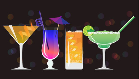 Americano  cocktail, Galaxy Magic Moscow Mule Vodka Cocktail , Orange juice and classic Margarita cocktails  on black mirrored background with bokeh. Vector illustration for web and print