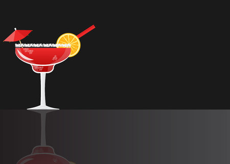 Margarita cocktail strawberry on black mirrored background. Vector illustration for web and print,  party invitation or menu decoration