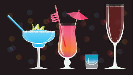Moonlight Margarita, Mai Tai ,Blue Kamikaze , Rose wine glass  cocktails  on black mirrored background with bokeh. Vector illustration for web and print,  party invitation or menu decoration 矢量图像