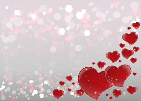 Bright Valentines Day Card with mirrored red hearts, blurred soft focus bokeh of bright silver background with tinsel, copy space template.Vector illustration for web and print, elegant decoration . Ilustração