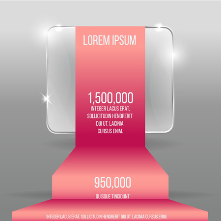Glass transparent vector rectangle with colorful label template for web and print decoration, sale sign or discount poster creative design .