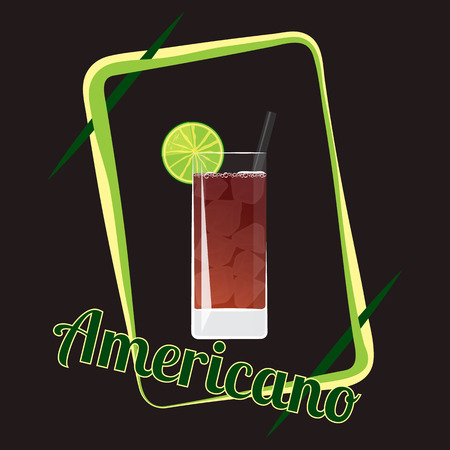 Official cocktail icon, The Unforgettable Americano cartoon illustration for bar or restoration  alcohol menu in elegant 80s style Çizim