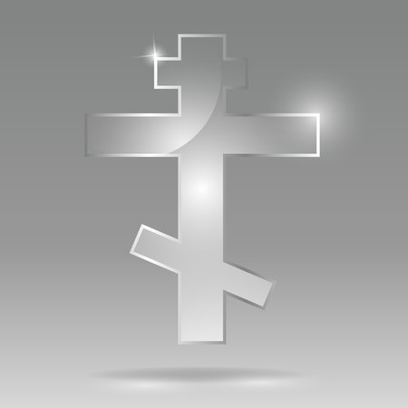 Glass transparent vector Russian Orthodox cross or Orthodox cross  is a variation of the Christian cross known from the 6th century in the Byzantine Empire. for web and print decoration