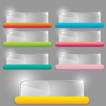 Glass transparent vector rectangle set  with colorful label template for web and print decoration, sale sign or discount poster creative design . Stock Illustratie