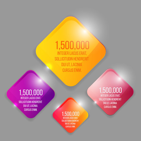 Glass transparent vector rhombus set in yellow, purple and pink  with colorful label template for web and print decoration, sale sign or discount poster creative design Stock Illustratie