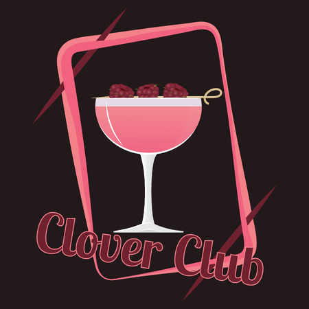 Official cocktail icon, The Unforgettable  Clover Club cartoon illustration for bar or restoration alcohol menu in elegant 80s style
