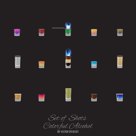 Set of 15 shots cocktails vector illustration for web and print.