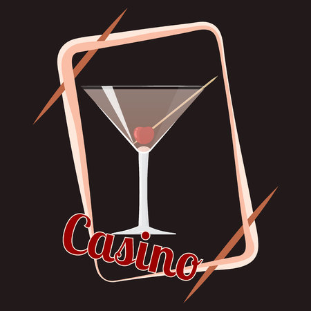 Official cocktail icon, The Unforgettable Casino cartoon illustration for bar or restoration  alcohol menu in elegant 80s style