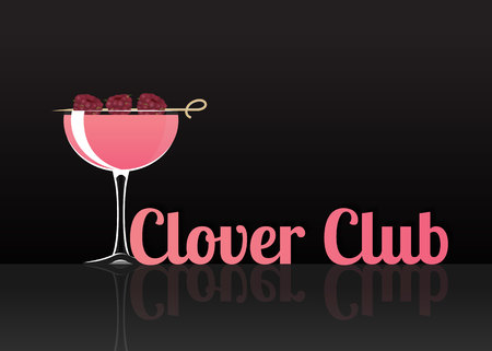 Official cocktail icon, The Unforgettable Clover Club cartoon illustration for bar or restoration  alcohol menu in elegant style on mirrored surface. Çizim