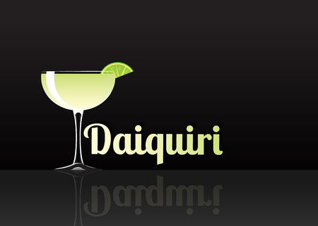 Official cocktail icon, The Unforgettable Daiquiri cartoon illustration for bar or restoration  alcohol menu in elegant style on mirrored surface. Illustration