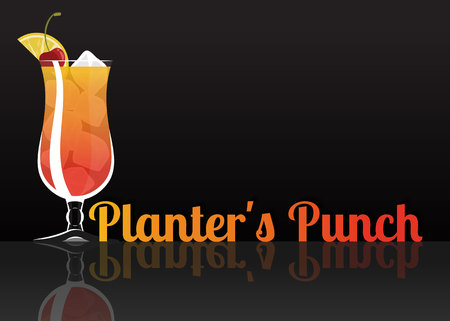 Official cocktail icon, The Unforgettable Planters Punch cartoon illustration for bar or restoration  alcohol menu in elegant style on mirrored surface. Çizim