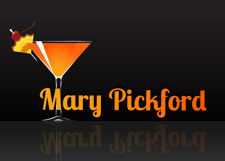 Official cocktail icon, The Unforgettable Mary Pickford cartoon illustration for bar or restoration  alcohol menu in elegant style on mirrored surface.
