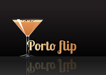 Official cocktail icon, The Unforgettable Porto flip cartoon illustration for bar or restoration  alcohol menu in elegant style on mirrored surface. Illustration