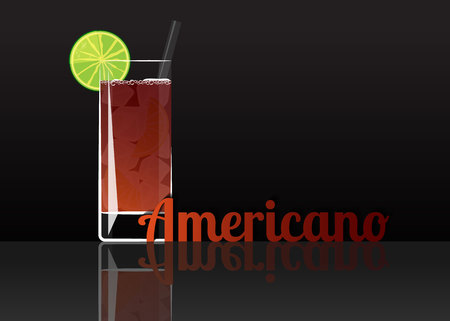 Official cocktail icon, The Unforgettable Americano cartoon illustration for bar or restoration  alcohol menu in elegant style on mirrored surface. Illustration