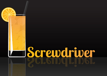 Official cocktail icon, The Unforgettable Screwdriver cartoon illustration for bar or restoration  alcohol menu in elegant style on mirrored surface.