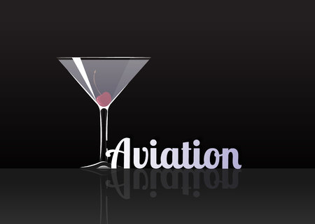 Official cocktail icon, The Unforgettable Aviation cartoon illustration for bar or restoration  alcohol menu in elegant style on mirrored surface. Çizim