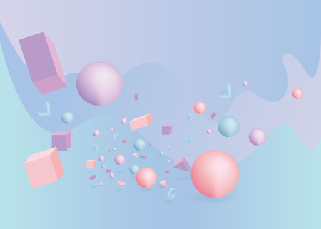3d figures realistic vector primitives composition abstract minimalism with flying objects and  shapes in motion isolated on blue background. Material design for web and print futuristic decoration Illustration