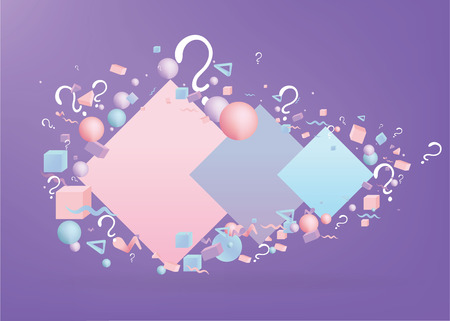 3d figures realistic vector primitives composition with question signs ,abstract minimalism with flying objects and  shapes in motion isolated .Material design for web and print futuristic decoration