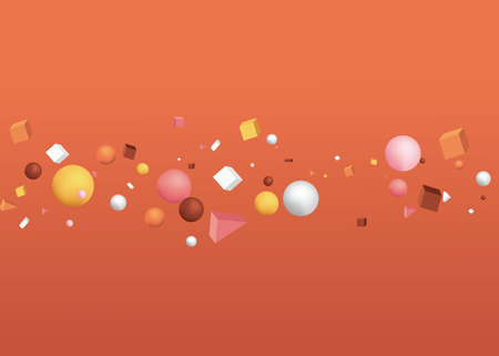 3d figures realistic vector primitives composition abstract minimalism with flying objects and shapes in motion isolated on brown background. Material design for web and print futuristic decoration