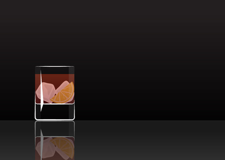 Official cocktail icon, The Unforgettable Negroni cartoon illustration for bar or restoration  alcohol menu in elegant style on mirrored surface. Çizim