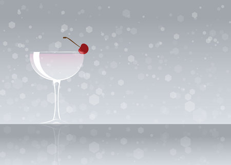 Official cocktail icon, The Unforgettable White Lady cartoon illustration for bar or restoration  alcohol menu in elegant style on mirrored surface. 矢量图像