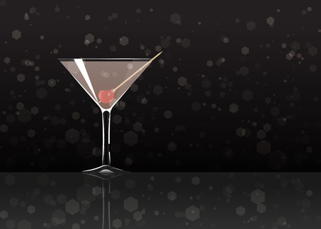 Official cocktail icon, The Unforgettable Casino cartoon illustration for bar or restoration  alcohol menu in elegant style on mirrored surface.