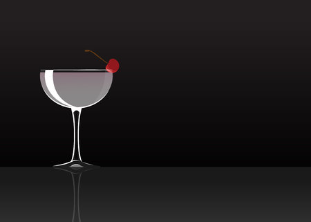 Official cocktail icon, The Unforgettable White Lady cartoon illustration for bar or restoration  alcohol menu in elegant style on mirrored surface. Çizim