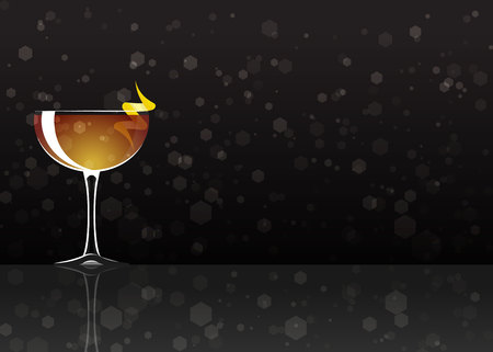 Official cocktail icon, The Unforgettable Between the Sheets cartoon illustration for bar or restoration alcohol menu in elegant style on mirrored surface.